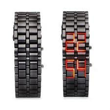 GGI International MenLava Black Stainless Steel Lava RED LED Digital Bracelet Watch - Save 89% - Under $10