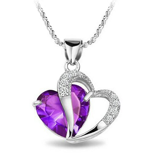 Rhodium Plated 925 Silver Diamond Accent Amethyst Heart Shape Pendant Necklace - Save: 72% + FREE Shipping