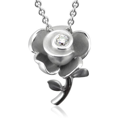Sterling Silver Rose Flower Diamond Pendant Necklace (GH, I1-I2, 0.12 carat) - Save: 79%