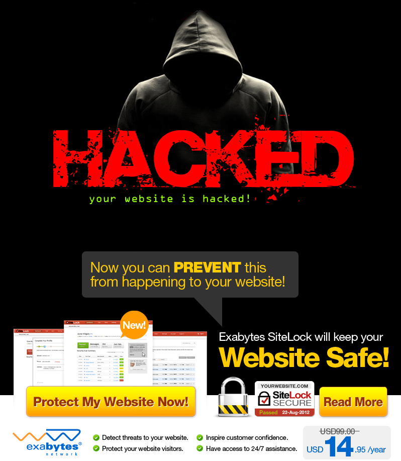 Your Website is Prone to Hacking, DO Something About it - Protect Your Site - From $14.95/year