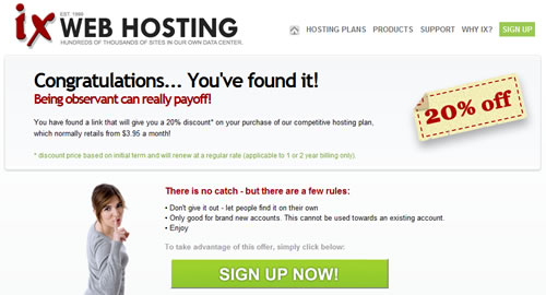 ix web hosting discount